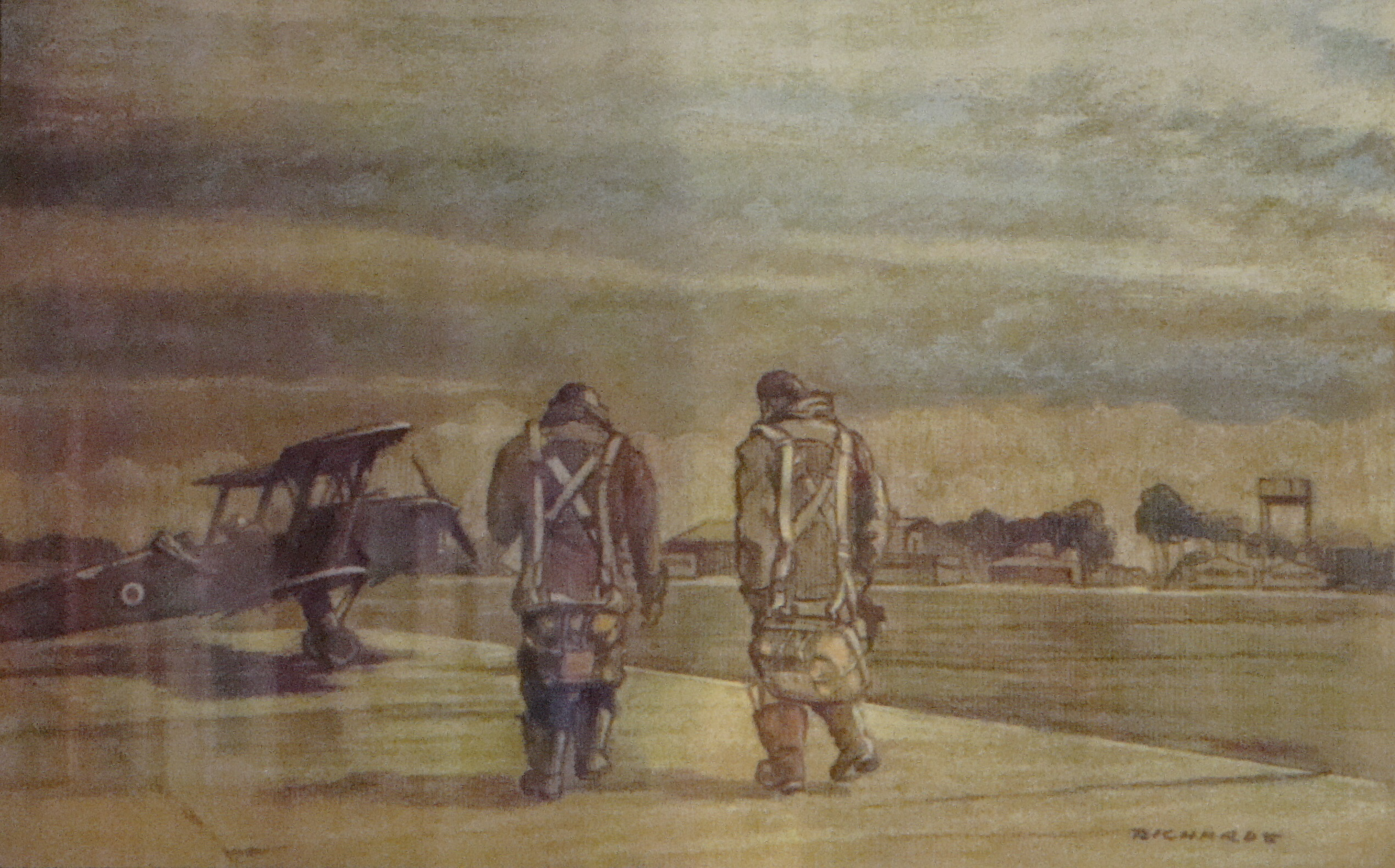 Two pilots walk out to an SE5